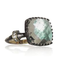 Larkspur & Hawk | Metallic Sophia Oxidized Sterling Silver Amethyst and Diamond Ring | Lyst