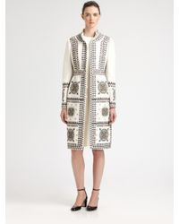 Valentino - White Embroidered Coat - Lyst