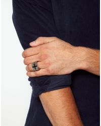 ASOS - Metallic Asos Chunky Cross Signet Ring for Men - Lyst