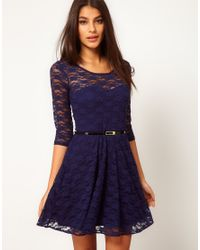 ASOS | Blue Skater Dress in Lace with 3/4 Sleeve | Lyst
