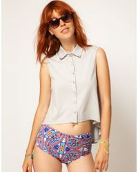 Shae - White Asos Collar Tip Cotton Trapeze Top - Lyst