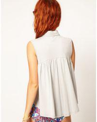 Shae - White Asos Collar Tip Cotton Trapeze Top - Lyst