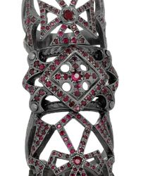 Loree Rodkin - 18karat Rhodium White Gold Ruby Armor Ring - Lyst