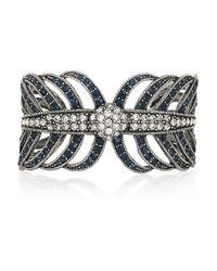 Lulu Frost - Metallic Drift Silvertone Crystal Leaf Cuff - Lyst