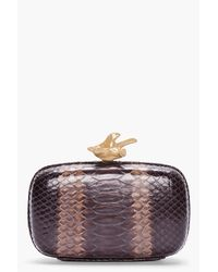 Givenchy | Brown Python Leather Box Clutch | Lyst