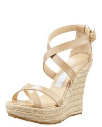 Jimmy Choo | Natural Porto Patent Leather Espadrille Wedge Sandals | Lyst