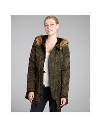 Miss Sixty | Army Green Nylon Faux Fur Trim Hooded Coat | Lyst