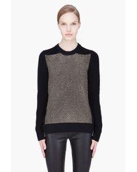 Proenza Schouler   Black Matallic Woven Side Zip Sweater   Lyst