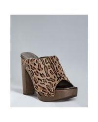 Stuart Weitzman | Multicolor Tan Leopard Calf Hair Stud Clog Platform Clogs | Lyst