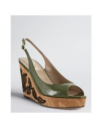 Valentino - Green Lace-embellished Patent-leather Wedges - Lyst