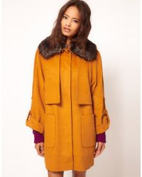 ASOS Collection - Yellow Fur Collar Oversized Coat - Lyst