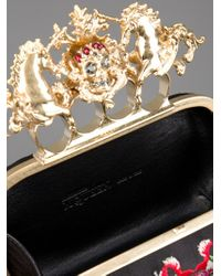 Alexander McQueen   Multicolor Embroidered Knuckle Duster Clutch   Lyst