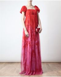 Alexander McQueen | Red Floral Printed Chiffon Bustier Gown | Lyst