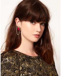 ASOS | Metallic Filigree Stone Link Ear Cuff | Lyst