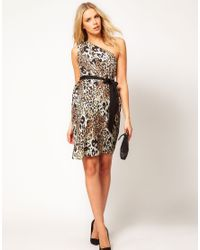 ASOS Multicolor One Shoulder Dress in Animal Print