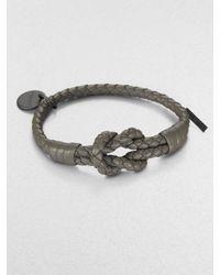 Bottega Veneta | Gray Intrecciato Knotted Leather Bracelet | Lyst