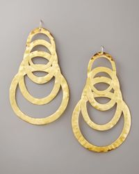 Devon Leigh - Metallic Hammered Gold Drop Earrings - Lyst