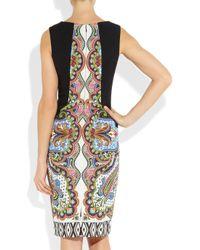 Etro   Black Printed Crepe Dress   Lyst