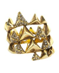 House of Harlow 1960 - Metallic Pyramid Pave Wrap Ring - Lyst