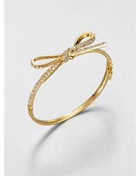 kate spade new york - Metallic Pavé Bow Bracelet - Lyst