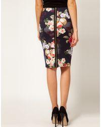 Oasis - Multicolor Rococo Rose Scuba Pencil Skirt - Lyst