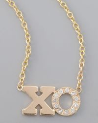 Zoe Chicco | Metallic Pave Diamond Xo Pendant Necklace | Lyst