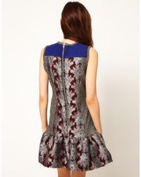 ASOS | Silver Dress with Peplum and Floral Print | Lyst