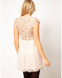 ASOS - Natural Skater Dress in Lace and Chiffon - Lyst