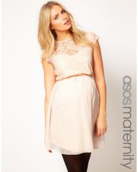 ASOS | Natural Skater Dress in Lace and Chiffon | Lyst