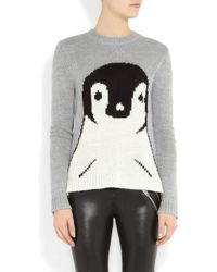 Tibi | Gray Penguin Intarsia Knitted Sweater | Lyst