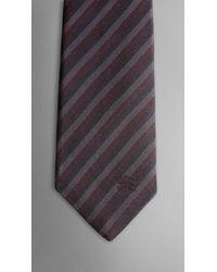 Burberry - Purple Silk Stripe Tie for Men - Lyst