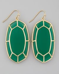 Kendra Scott | Framed Cabochon Earrings Green Onyx | Lyst