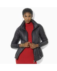 Lauren by Ralph Lauren - Black Quilted Microfiber Jacket - Lyst
