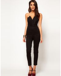 ASOS - Black Jumpsuit With Pleat Bust Origami Detail - Lyst