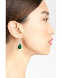 Nadri | Green Faceted Crystal Drop Earrings | Lyst