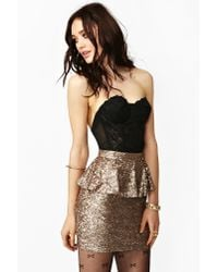 Nasty Gal | Metallic Peplum Sequin Skirt | Lyst