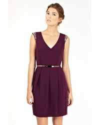 Oasis   Purple Embellished Holly Shift Dress   Lyst
