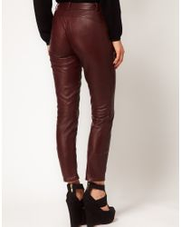 ASOS Purple Leather Trousers