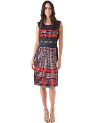BCBGMAXAZRIA | Blue Stretch Knit Faux Wrap Dress | Lyst