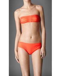 Burberry   Orange Gathered Bandeau Bikini   Lyst