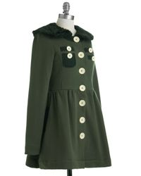 ModCloth   Green A Thrill in The Air Coat   Lyst
