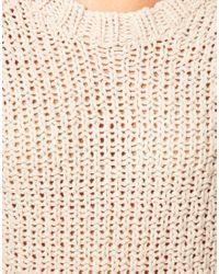 ASOS Collection - Natural Asos Textured Stitch Jumper Dress - Lyst