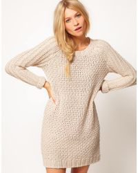 ASOS Collection | Natural Asos Textured Stitch Jumper Dress | Lyst