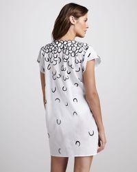 Oscar de la Renta   White Printed Silk Coverup Tunic   Lyst