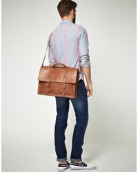 ASOS - Brown Leather Old Boy Satchel for Men - Lyst