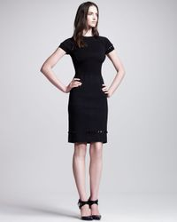 Bottega Veneta - Openbeaded Shortsleeve Sheath Dress Black - Lyst