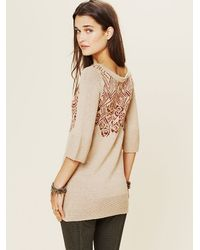Free People | Beige Floral Tunic | Lyst