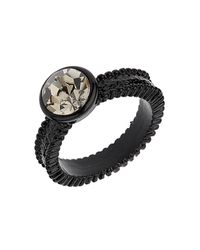 TOPSHOP - Black Stone Clean Ring Stack - Lyst
