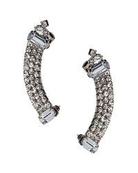 TOPSHOP - White Rhinestone Curver Ear Cuffs - Lyst