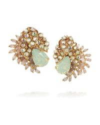 Bijoux Heart | Green Trellis Goldplated Swarovski Crystal Clip Earrings | Lyst